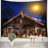 LB Natividad de Jesus Tapiz Navidad Tapiz Pared Cristiano,Reyes Magos,Estrella de Belén Tapiz Colgar Pared para Sala Habitación Residencia Universitaria Decoración Pared,150cm Ancho x 100cm Altura