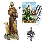 Heraldys.- Figura San Francisco en Resina, Pintada a Mano 15 cms. + Estampa + Colgante Cruz. También de Regalo estampas de San Expedito, San Pancracio, San Judas Tadeo y San Miguel.