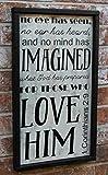 Toll2452 Signo bíblico con texto en inglés 'No Eye Has Seen 1 Corinthians 29' Signo bíblico de la Biblia, letrero de madera, arte cristiano para pared o decoración del hogar, 40cm*50cm