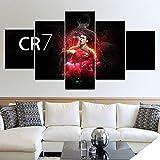 BOYH Lienzo HD Wall Art Modular Imagen Decoración Moderna 5 Piezas Deportes CR7 Cristiano Ronaldo Impreso Muchachos Habitación Póster Cuadro,B,30×50×2+30×70×2+30×80×1