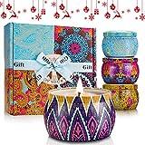 mreechan Vela perfumada Set,perfumada,Vela perfumada Natural Wake Box 4 Set de Regalo Decorativo para Velas, Adecuado para Navidad, cumpleaños, San Valentín, etc. (Color clásico)
