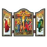 NKlaus 1428 Crucifixión de Cristo Icono Cristiano Raspjatie Hristovo Altar Ambulante