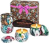Anjou Juego de 4 Velas perfumadas para Mujer, Lavanda, jazmín, Vainilla y Rosa, Cera de Soja Pura, Cuencos de Viaje Reutilizables, Regalo de cumpleaños, día de la Madre